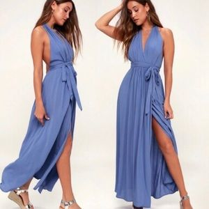 Lulu's Magical Movement Periwinkle Wrap Maxi Dress